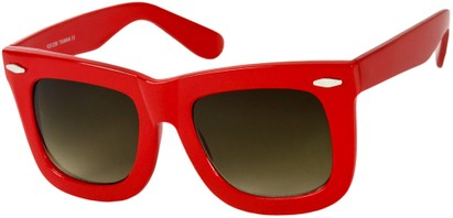 Angle of SW Oversized Retro Style #1877 in Red Frame with Green Lenses, Women's and Men's