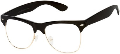 Angle of Harmon #9201 in Black/Gold Frame with Clear Lenses, Women's and Men's Browline Fake Glasses