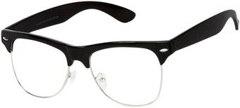 Angle of Harmon #9201 in Black/Silver Frame with Clear Lenses, Women's and Men's Browline Fake Glasses