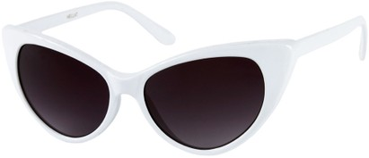 Angle of Catalina #9122 in White Frame, Women's Cat Eye Sunglasses