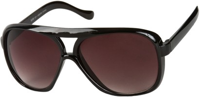 Angle of SW Oversized Aviator Style #9460 in Black Frame with Smoke Lenses, Women's and Men's