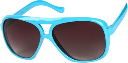Angle of SW Oversized Aviator Style #9460 in Light Blue Frame with Smoke Lenses, Women's and Men's