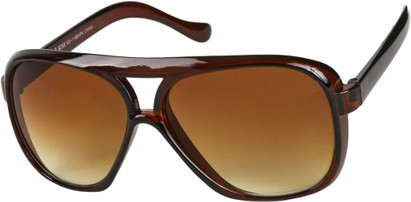 Angle of SW Oversized Aviator Style #9460 in Brown Frame with Amber Lenses, Women's and Men's