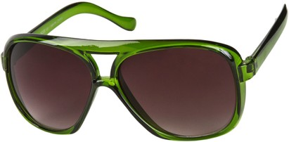 Angle of SW Oversized Aviator Style #9460 in Green Frame with Smoke Lenses, Women's and Men's