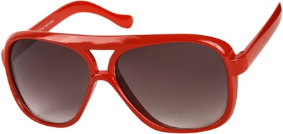 Angle of SW Oversized Aviator Style #9460 in Red Frame with Smoke Lenses, Women's and Men's