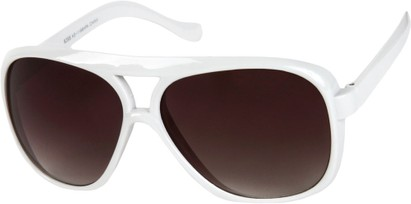 Angle of SW Oversized Aviator Style #9460 in White Frame with Smoke Lenses, Women's and Men's