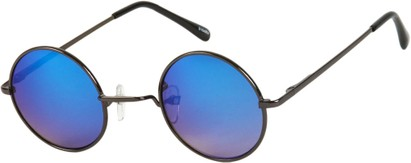 Angle of SW Mirrored Round Style #16070 in Black Frame with Blue Mirrored Lenses, Women's and Men's