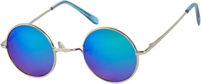 Angle of SW Mirrored Round Style #16070 in Silver Frame with Blue/Green Mirrored Lenses, Women's and Men's