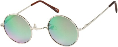 Angle of SW Mirrored Round Style #16070 in Silver Frame with Silver/Green Mirrored Lenses, Women's and Men's