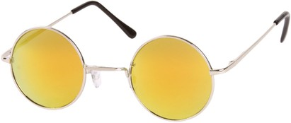 Angle of SW Mirrored Round Style #16070 in Silver Frame with Yellow Mirrored Lenses, Women's and Men's