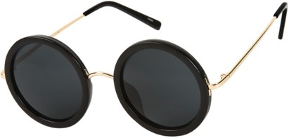 Angle of SW Round Style #2151 in Glossy Black/Gold Frame with Grey Lenses, Women's and Men's
