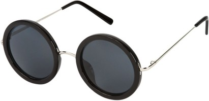 Angle of SW Round Style #2151 in Glossy Black Frame with Grey Lenses, Women's and Men's