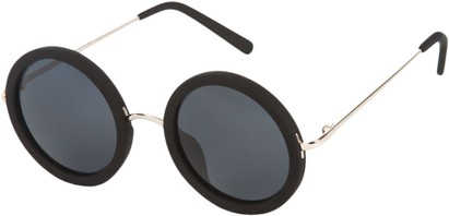 Angle of SW Round Style #2151 in Matte Black Frame with Grey Lenses, Women's and Men's