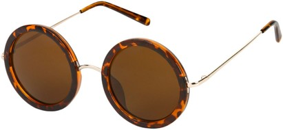 Angle of SW Round Style #2151 in Glossy Tortoise Frame with Amber Lenses, Women's and Men's