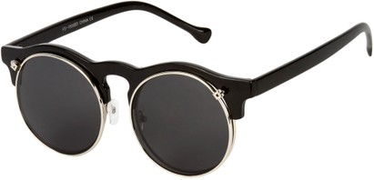 Angle of SW Flip-Up Celebrity Style #7472 in Black Frame with Grey Lenses, Women's and Men's