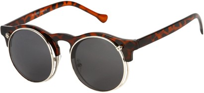 Angle of SW Flip-Up Celebrity Style #7472 in Tortoise Frame with Grey Lenses, Women's and Men's
