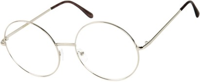 Angle of SW Clear Round Style #116 in Silver Frame, Women's and Men's
