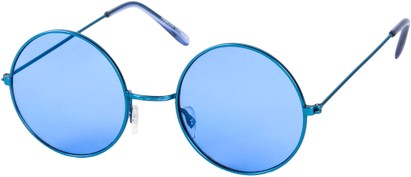 Angle of SW Round Style #9830 in Blue Frame with Blue Lenses, Women's and Men's