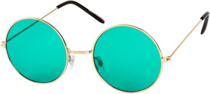 Angle of SW Round Style #9830 in Gold Frame with Green Lenses, Women's and Men's