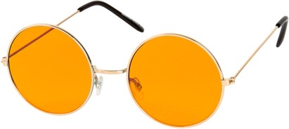 Angle of SW Round Style #9830 in Gold Frame with Orange Lenses, Women's and Men's