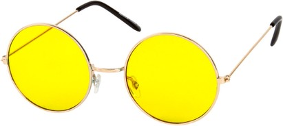 Angle of SW Round Style #9830 in Gold Frame with Yellow Lenses, Women's and Men's