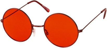 Angle of SW Round Style #9830 in Red Frame with Red Lenses, Women's and Men's