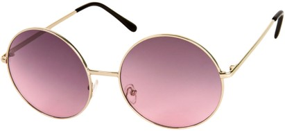 Angle of Rainier #244 in Silver Frame with Rose Lenses, Women's and Men's Round Sunglasses