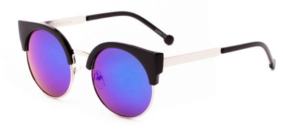Angle of Ivy #6608 in Matte Black/Gold Frame with Blue Mirrored Lenses, Women's Cat Eye Sunglasses
