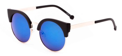 Angle of Ivy #6608 in Glossy Black/Silver Frame with Blue/Green Lenses, Women's Cat Eye Sunglasses