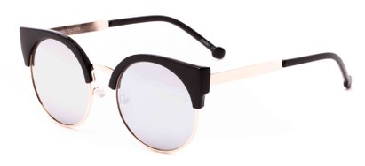 Angle of Ivy #6608 in Glossy Black/Gold Frame with Silver Mirrored Lenses, Women's Cat Eye Sunglasses