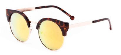 Angle of Ivy #6608 in Tortoise/Gold Frame with Orange Mirrored Lenses, Women's Cat Eye Sunglasses