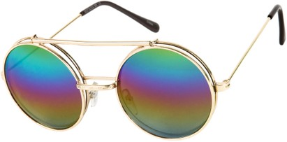Angle of SW Flip-Up Round Style #7585 in Gold Frame with Rainbow Lenses, Women's and Men's