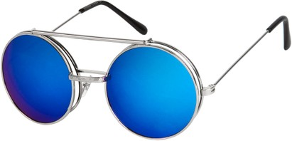 Angle of SW Flip-Up Round Style #7585 in Silver Frame, Women's and Men's