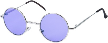 Angle of Dune #2426 in Silver Frame with Indigo Blue Lenses, Women's and Men's Round Sunglasses