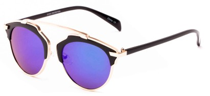 Angle of Tonto #9502 in Black/Gold Frame with Blue/Green Mirrored Lenses, Women's and Men's Round Sunglasses
