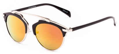 Angle of Tonto #9502 in Black/Silver Frame with Red/Orange Mirrored Lenses, Women's and Men's Round Sunglasses
