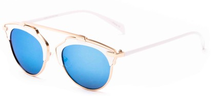 Angle of Tonto #9502 in White/Gold Frame with Blue Lenses, Women's and Men's Round Sunglasses