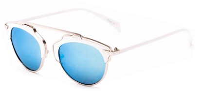 Angle of Tonto #9502 in White/Silver Frame with Blue Mirrored Lenses, Women's and Men's Round Sunglasses