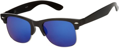Angle of Hamilton #8839 in Glossy Black Frame with Blue Mirrored Lenses, Women's and Men's Browline Sunglasses