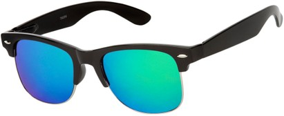 Angle of Hamilton #8839 in Glossy Black Frame with Green Mirrored Lenses, Women's and Men's Browline Sunglasses