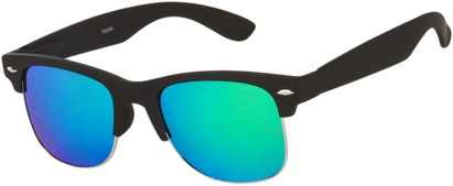 Angle of Hamilton #8839 in Matte Black Fame with Green Mirrored Lenses, Women's and Men's Browline Sunglasses