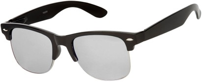 Angle of Hamilton #8839 in Glossy Black Frame with Silver Mirrored Lenses, Women's and Men's Browline Sunglasses