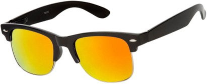 Angle of Hamilton #8839 in Glossy Black Frame with Orange Mirrored Lenses, Women's and Men's Browline Sunglasses