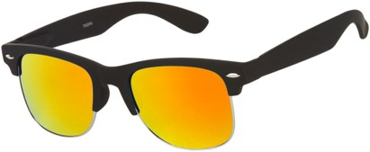 Angle of Hamilton #8839 in Matte Black Frame with Orange Mirrored Lenses, Women's and Men's Browline Sunglasses
