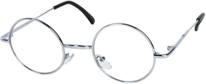 Angle of SW Round Clear Style #7620 in Silver Frame, Women's and Men's