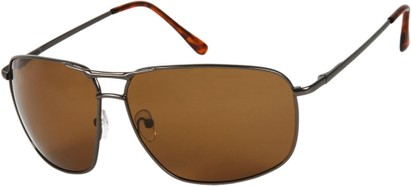 Angle of Shane #9870 in Matte Grey Frame with Brown Lenses, Women's and Men's