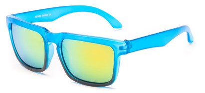 Angle of Subzero #1673 in Blue Fade Frame with Yellow Mirrored Lenses, Women's and Men's Aviator Sunglasses