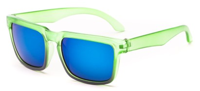 Angle of Subzero #1673 in Green Fade Frame with Blue Mirrored Lenses, Women's and Men's Aviator Sunglasses