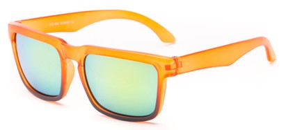 Angle of Subzero #1673 in Orange Fade Frame with Yellow Mirrored Lenses, Women's and Men's Aviator Sunglasses