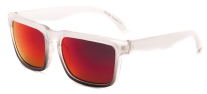 Angle of Subzero #1673 in Clear Fade Frame with Pink Mirrored Lenses, Women's and Men's Aviator Sunglasses